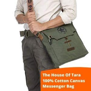 The House of Tara wax coated canvas small khaki bag